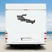 WA221 Clickzilla - Wohnmobil Aufkleber - Wohnwagen Aufkleber - Wir sind dann mal weg