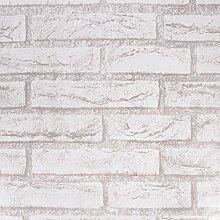 WaaHome Tapete Selbstklebend Backsteine Grau Tapeten Wandtapete Für Zu Hause Schlafzimmer Wand Dekoration 32.8ft X 17.7inches