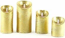 Wachskerze, batteriebetrieben, LED Kerzen 4er Set gold | knuellermarkt.de | mit Timer-Funktion, Flackerkerze, bewegliche Flamme, Flackerlicht, Weihnachtsdeko, Adventskranz, Echtwachs
