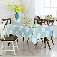 wachstischdeckeChrysantheme blau Stoff Tischdecke