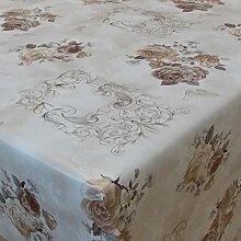 Wachstuch Blumen Rosen Braun Beige Eckig 110x160 cm · Länge wählbar· abwaschbare Tischdecke