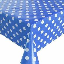 Wachstuch Breite 80 cm - Farbe & Länge wählbar - Punkte Blau Weiss Lebensmittelecht - Größe ECKIG 80 x 360 bzw. 360x80 cm abwaschbare Tischdecke Glatt Gartentischdecke