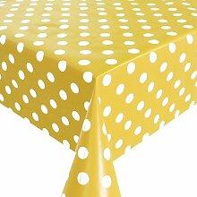 Wachstuch Breite 80 cm - Farbe & Länge wählbar - Punkte Gelb Weiss Lebensmittelecht - Größe ECKIG 80 x 330 bzw. 330x80 cm abwaschbare Tischdecke Glatt Gartentischdecke