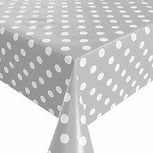 Wachstuch Breite 80 cm - Farbe & Länge wählbar - Punkte Grau Weiss Lebensmittelecht - Größe ECKIG 80 x 110 bzw. 110x80 cm abwaschbare Tischdecke Glatt Gartentischdecke