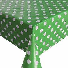 Wachstuch Breite 80 cm - Farbe & Länge wählbar - Punkte Grün Weiss Lebensmittelecht - Größe ECKIG 80 x 410 bzw. 410x80 cm abwaschbare Tischdecke Glatt Gartentischdecke
