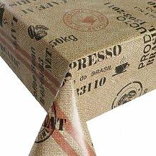 Wachstuch Breite 90 cm - Kaffeesack Rot Beige Größe 90 x 180 bzw. 180x90 cm abwaschbare Tischdecke von DecoHometextil