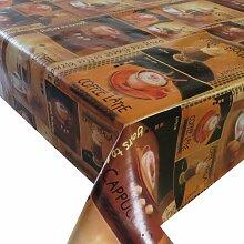 Wachstuch Breite & Länge wählbar - Kaffee 1 Braun Glatt Lebensmittelecht - Größe ECKIG 80 x 450 bzw. 450x80 cm abwaschbare Tischdecke Gartentischdecke