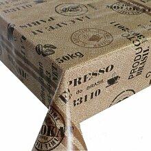 Wachstuch Breite & Länge wählbar - Kaffeesack Braun Beige Lebensmittelecht - Größe ECKIG 100 x 250 bzw. 250x100 cm abwaschbare Tischdecke Wachstücher Gartentischdecke