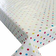 Wachstuch Breite & Länge wählbar - Kleine bunte Punkte Glatt Lebensmittelecht - Größe ECKIG 120 x 210 bzw. 210x120 cm abwaschbare Tischdecke Gartentischdecke