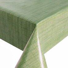 Wachstuch Breite & Länge wählbar - Leinenlook Grün Glatt Lebensmittelecht - Größe ECKIG 140 x 520 bzw. 520x140 cm abwaschbare Tischdecke Gartentischdecke