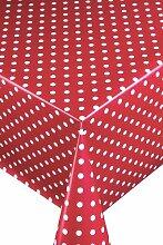 Wachstuch Breite & Länge wählbar - LMKV Punkte (ca. 1 cm) Rot Weiss 130 x 280 bzw. 280x130 cm abwaschbare Tischdecke von DecoHometextil