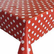 Wachstuch Breite & Länge wählbar - Punkte Rot Weiss Lebensmittelecht - Größe ECKIG 130 x 370 bzw. 370x130 cm abwaschbare Tischdecke Gartentischdecke
