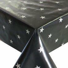 Wachstuch Breite & Länge wählbar - Sterne Schwarz Glatt Weihnachten - Größe ECKIG 120 x 260 bzw. 260x120 cm abwaschbare Tischdecke Gartentischdecke