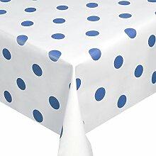 Wachstuch Breite & Länge wählbar - Weiss mit Punkte Blau Glatt Lebensmittelecht - Größe ECKIG 120 x 190 bzw. 190x120 cm abwaschbare Tischdecke Gartentischdecke