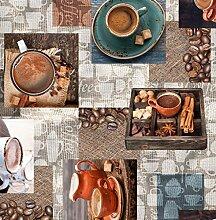 Wachstuch Cafea Kaffee Glatt · Eckig 85x500 cm · Länge wählbar · abwaschbare Tischdecke