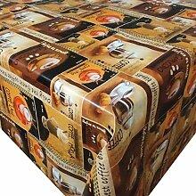 Wachstuch Cappuccion Kaffee Braun Beige Eckig 125x380 cm · Classic Linie - Länge , Motive , Muster , Farbe wählbar abwaschbare Tischdecke