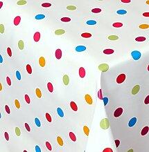 Wachstuch Dottie Bunt Kleine Punkte Eckig 140x320 cm · Länge wählbar· abwaschbare Tischdecke