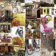 Wachstuch Fahrrad Bunt · Eckig 140x1700 cm ·
