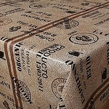 Wachstuch Kaffeesach Braun Beige Brazil Eckig 80x150 cm · Classic Line - Länge , Motive , Muster , Farbe wählbar abwaschbare Tischdecke