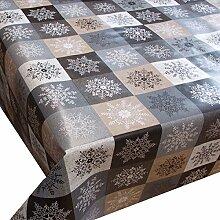 Wachstuch Kristall Beige Braun Weihnachten· Eckig 140x170 cm · Länge & Breite wählbar· abwaschbare Tischdecke