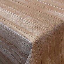 Wachstuch Madeira Bretter Braun· Eckig 130x320 cm · Länge wählbar· abwaschbare Tischdecke