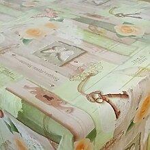 Wachstuch Mariposa Grün Glatt · Eckig 120x410 cm · Länge wählbar· abwaschbare Tischdecke