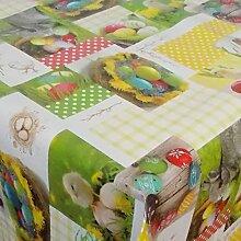 Wachstuch Ostern 2 Bunt Glatt · Eckig 110x430 cm · Länge wählbar· abwaschbare Tischdecke