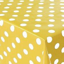 Wachstuch Punkte Gelb Weiss · Eckig 85x400 cm ·
