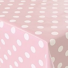 Wachstuch Punkte Rosa Weiss · Eckig 140x205 cm · Länge wählbar· abwaschbare Tischdecke