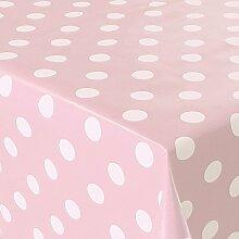 Wachstuch Punkte Rosa Weiss · Eckig 140x240 cm · Länge wählbar· abwaschbare Tischdecke