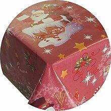 Wachstuch Rund ca. 140 cm Weihnachten Zuckerstange Rot abwaschbare Tischdecke Gartentischdecke X-MAS