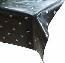 Wachstuch Star anthrazit silber Meterware Wachstuchtischdecke Tischdecke Sterne, Maße:210x140cm