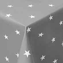 Wachstuch Sterne Grau Weiss Glatt · Eckig 140x320 cm · Länge wählbar· abwaschbare Tischdecke
