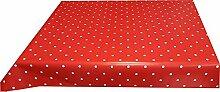 Wachstuch Tischdecke 110cm X 140cm , rot weiß