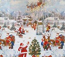 Wachstuch Tischdecke 140cm rund Weihnachtsmann