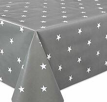 Wachstuch Tischdecke abwaschbar Meterware, Glatt Weihnachten Sterne grau-weiß, Größe wählbar (140 x 400 cm)