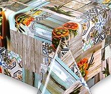Wachstuch Tischdecke abwischbar rutschfest Meterware, glatt Olive Mediterran, Größe wählbar (eckig 500 x 140 cm)