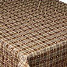 Wachstuch-Tischdecke, kariert mit Herzen, leichte Reinigung, 140x200cm, Braun