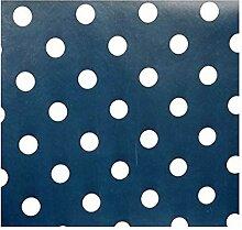 Wachstuch-Tischdecke, marineblau mit Punkten, aus