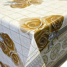 Wachstuch Tischdecke Meterware abwaschbar mit Motiv Rosen in Beige