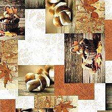 Wachstuch Tischdecke Meterware Herbst Pilze B9062-01 Größe wählbar in eckig rund oval (140 x 270 cm oval)