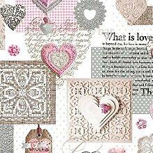 Wachstuch Tischdecke Meterware Love Herzen beige