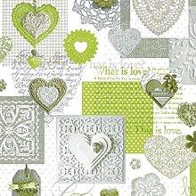 Wachstuch Tischdecke Meterware Love Herzen grün C146063 Größe wählbar in eckig rund oval (70 x 240 cm eckig (Biertisch L))