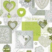 Wachstuch Tischdecke Meterware Love Herzen grün