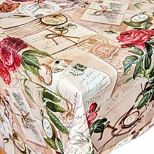 Wachstuch Tischdecke Meterware Motiv Oldtime in beige Wachstischtuch abwaschbar