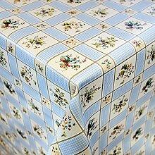 Wachstuch Tischdecke Meterware Motiv Waldblumen in Hellblau Wachstischtuch abwaschbar