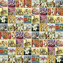 Wachstuch Tischdecke Meterware Ostern Ostereier Osterhase Größe und Dessin wählbar in eckig rund oval (140 x 200 cm eckig, K837-1)