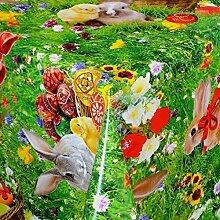 Wachstuch Tischdecke Meterware Ostern Osterhase K1428069 Größe wählbar in eckig rund oval (100 x 140 cm eckig)