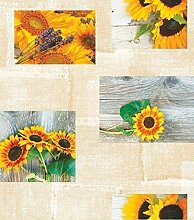 Wachstuch Tischdecke Meterware Sonnenblume Holz