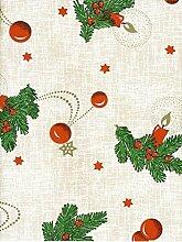Wachstuch Tischdecke Meterware Weihnachten Tannenzweig 2412-DLF5 Größe wählbar in eckig rund oval (140 x 190 cm oval)